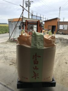 乾燥機と籾摺り機を一新し、1トン入りのフレコンに詰めます