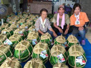 1玉で15~30キロにも育つ入善ジャンボ西瓜。甘いです!